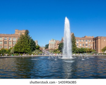 Drumheller Fountain, also known as Frosh Pond, is an outdoor fountain on the University of Washington campus in Seattle, Washington, in the United States.