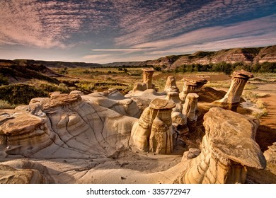 Drumheller Hoodoos at Sunrise in Alberta, Canada.