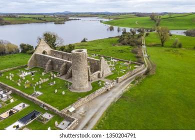 Drumlane abbey and round tower