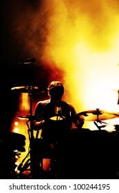 a drummer at an festival open air