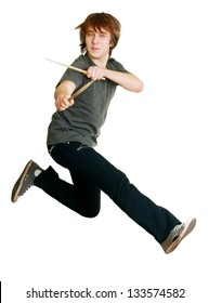 drummer man jumping in the air with drumsticks isolated