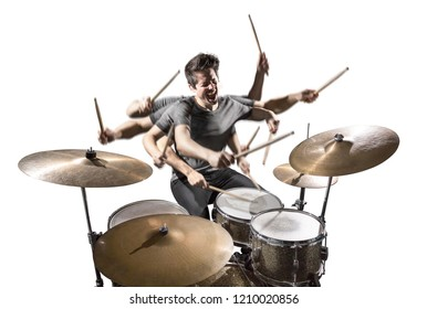 Drummer with many arms isolated on white