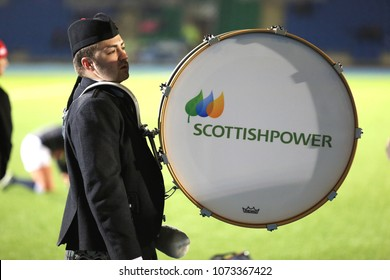 A drummer marches with the Scottish Power bass drum prior to the Scotland v England Ladies 6 Nations Championship game. Scotstoun Stadium, Glasgow, UK : 23 February 2018 : Pic Mick Atkins