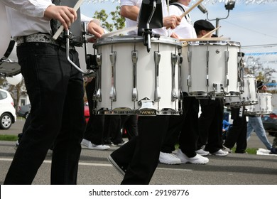 Drummer in a Marching Band in parade