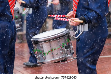 Drummer marching in holiday parade