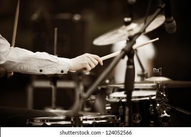 drummer on the rock concert