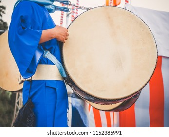 Drummer performance, Taiko Drum, Japanese folklore. Japanese artist perform at Bon Festival in blue kimono with big drum