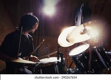 drummer playing his kit