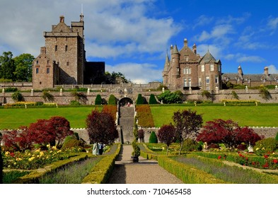 Drummond Castle Gardens, Drummond Castle, 17th century mansion. Perthshire, Scotland. UK. SEPTEMBER 2017