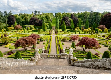 Drummond Castle and Gardens near Crieff in Perthshire, Scotland.