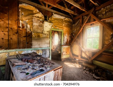 DRUMMOND, MONTANA - JULY 20: Abandoned building at the Garnet Ghost Town on July 20, 2017 north of Drummond, Montana