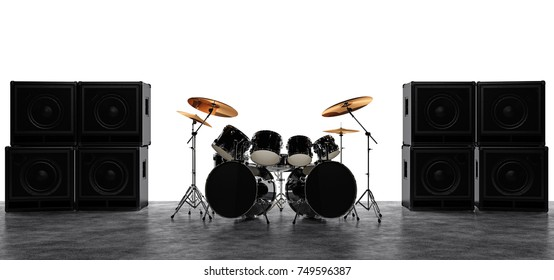 Drums and guitar amps in the background of a white rectangle. 3D Render