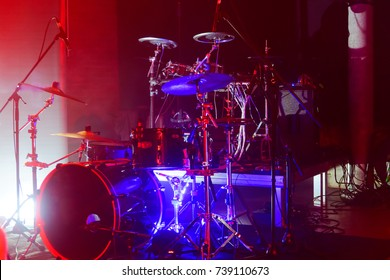 Drums on the stage, illuminated