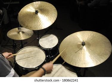 Drums set in night club