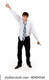 drunk businessman with ragged clothes on a white background