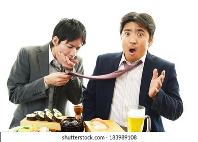 Drunk businessman woman with beer