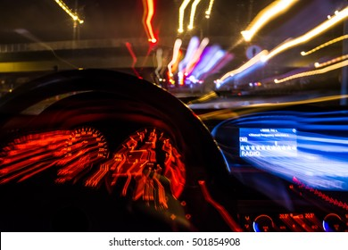 drunk driver goes at night. view from inside. abstract
