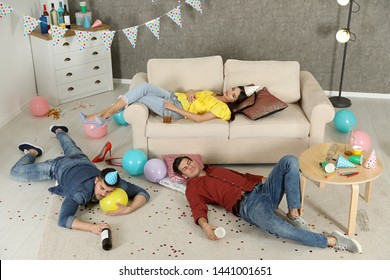 Drunk friends sleeping in messy room after party