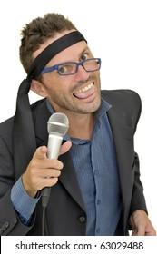 Drunk karaoke singer isolated in white