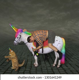 The drunk man with a bottle of bubbly is riding the unicorn. His cat is walking next to him.