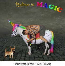 The drunk man with a bottle of rainbow wine is riding the unicorn. Believe in magic.
