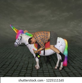 The drunk man with a bottle of rainbow wine is riding the unicorn.