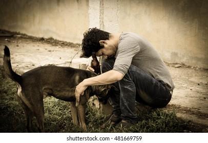 Drunk man with dog,Sad,Despair,Depressed