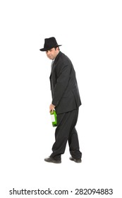 drunk man with hat, isolated over white background