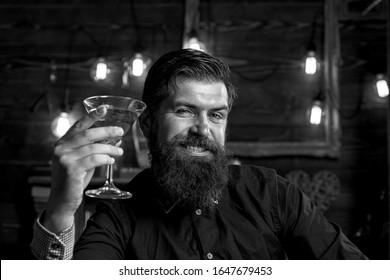 Drunk man. Liquor martini concept. Drink barman. Pub retro vintage interior. Hipster barman concept. Guy with alcohol. Drunk man. Alcohol addiction