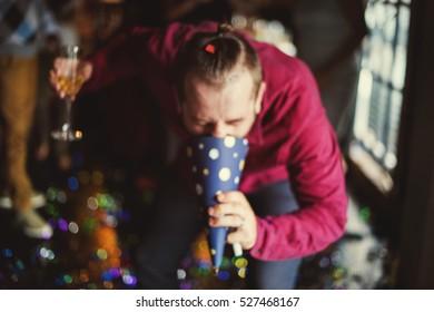 Drunk Man Vomit Party Hat Alcohol Abuse Hangover Concept
