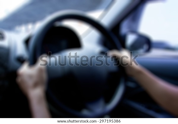 Drunk not driving concept : blurry of hand drive the car