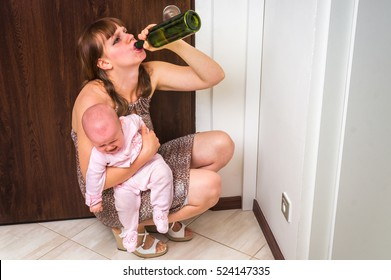 Drunk reckless woman drinking alcohol and holding her crying baby after return from night party