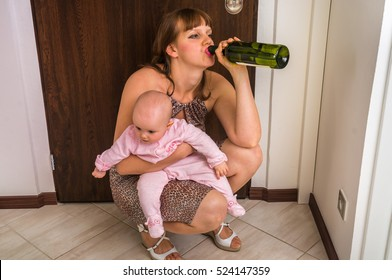 Drunk reckless woman drinking alcohol and holding her baby after return from night party