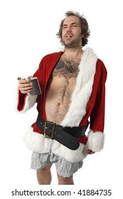 A drunk Santa Claus with flask, no pants and full of bad attitude.