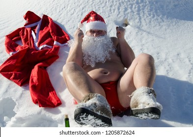 Drunk Santa. Snow and winter.