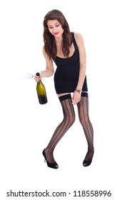 Drunk woman in erotic clothes holding wine and glass