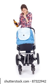 drunk young mother with baby buggy (stroller), white background