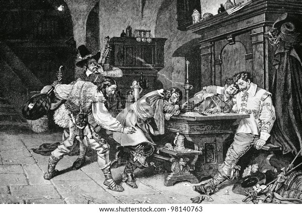 """Drunkards. Engraving by Kremer from picture by  Bonneau. Published in magazine """"Niva"""", publishing house A.F. Marx, St. Petersburg, Russia, 1888"""