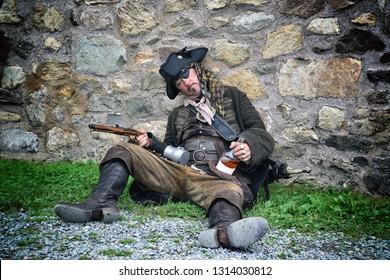 Drunken Pirate with Flintlock Pistol and Rum Bottle