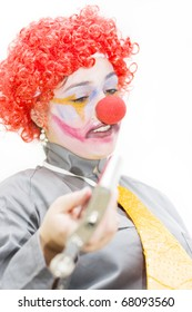 Drunken Stumbling Clown Offering Drink From Her Alcohol Canter While Drinking During Happy Hour