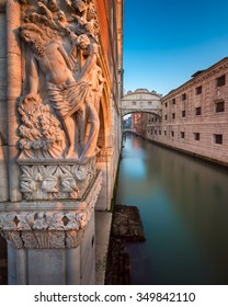 Drunkenness of Noah Sculpture and Bridge of Sighes at Sunrise, Venice, Italy
