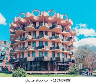 Druskininkai, Lithuania - April 30, 2017: Contemporary european design apartment residential building.