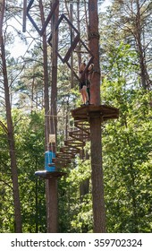 DRUSKININKAI, LITHUANIA - JULY 17, 2015:  Adventure Park «ONE». Druskininkai. Lithuania. Druskininkai is a spa town on the Neman River in southern Lithuania