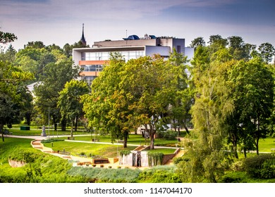 DRUSKININKAI, LITHUANIA - JULY 31, 2018: The building of Hotel Europa Royale Druskininkai, Lithuania. Druskininkai is famous popular resort spa town oin Lithuania