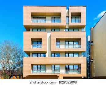 Druskininkai, Lithuania - May 1, 2017: Contemporary european residential apartment building. Druskininkai