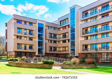 Druskininkai, Lithuania - May 1, 2017: Contemporary european complex of apartment residential buildings