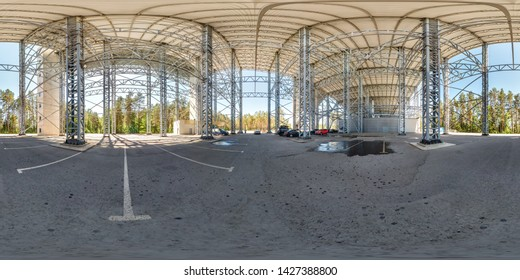 druskininkai, LITUVA - JUNE 2019: full spherical hdri panorama 360 degrees angle view near huge steel construction frame of snow arena building in forest in equirectangular projection. VR content