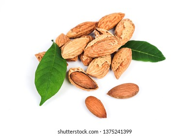 Dry Almonds nuts with shell on white background ,health food.