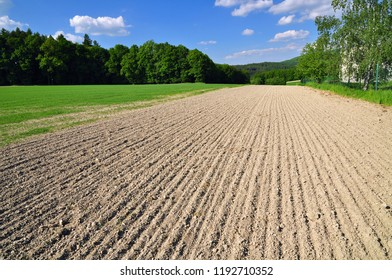 Dry arable land earth soil field