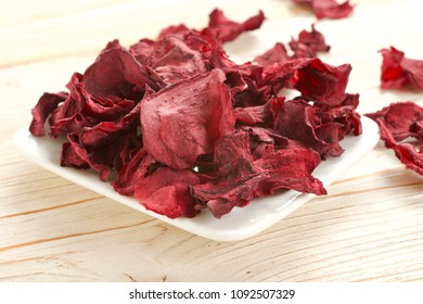 dry beetroot on a wooden background